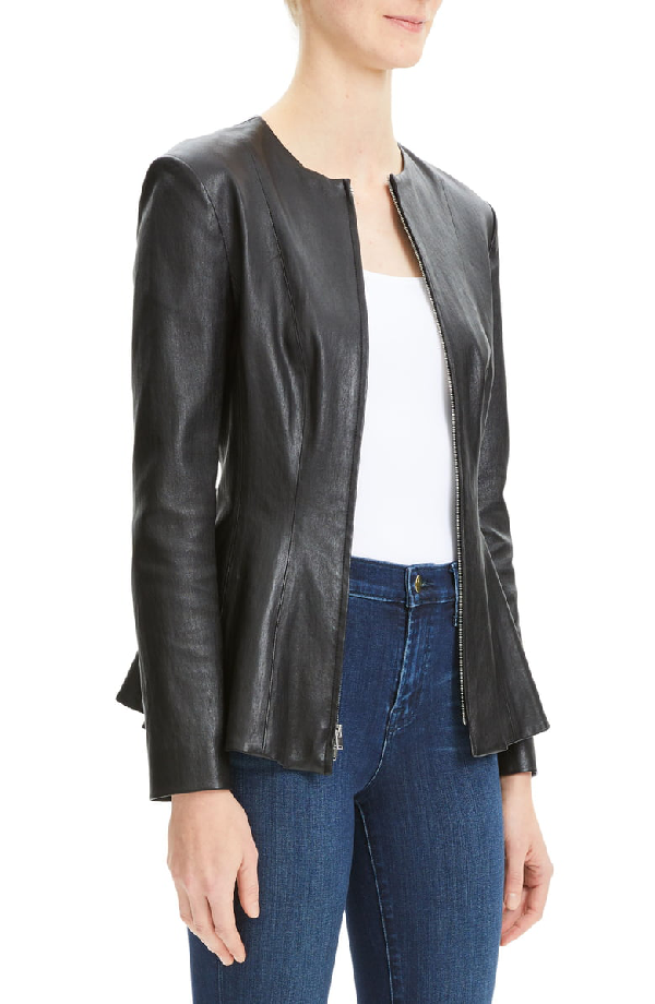 b3741377f Movement Fitted Zip-Front Leather Peplum Jacket in Black