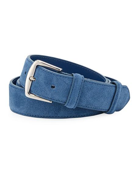 Loro Piana Men's Alsavel Suede Belt In Medium Blue