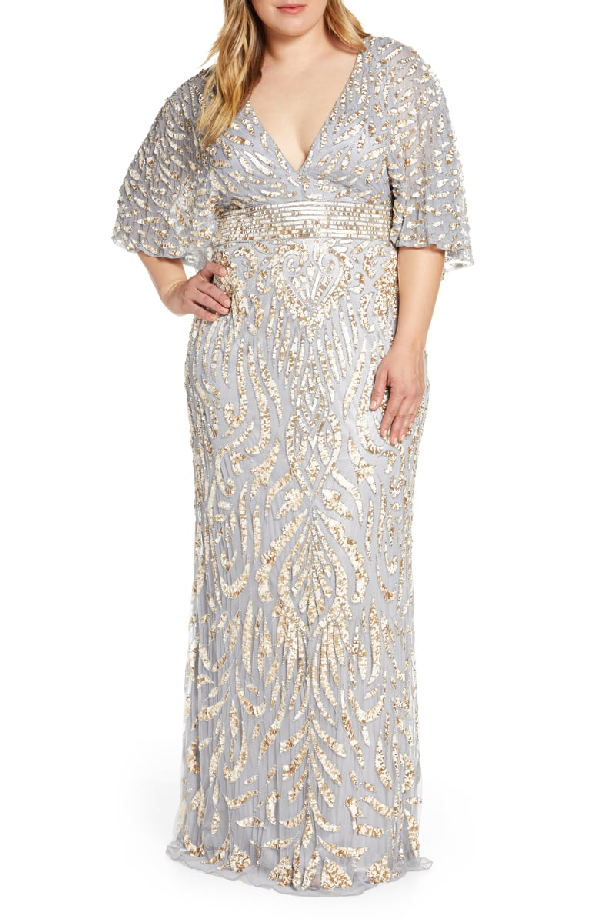 Plus Size Sequin Embellished Plunge-neck Drape-sleeve Gown In Platinum Gold