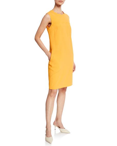533770e3af4a5 Escada Scalloped Sleeveless Sheath Dress In Bright Blue