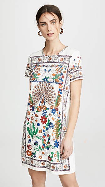 ef34d49a54ab Tory Burch Kerry Crewneck Short-Sleeve T-Shirt Dress In Ivory Peacock Meadow