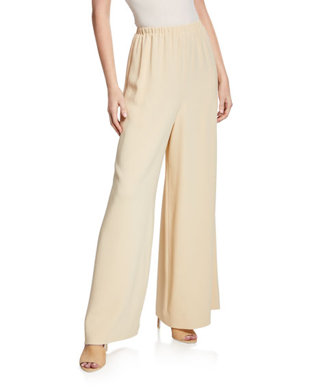 The Row Pavel Stretch-Cady Wide-Leg Trousers In Butter
