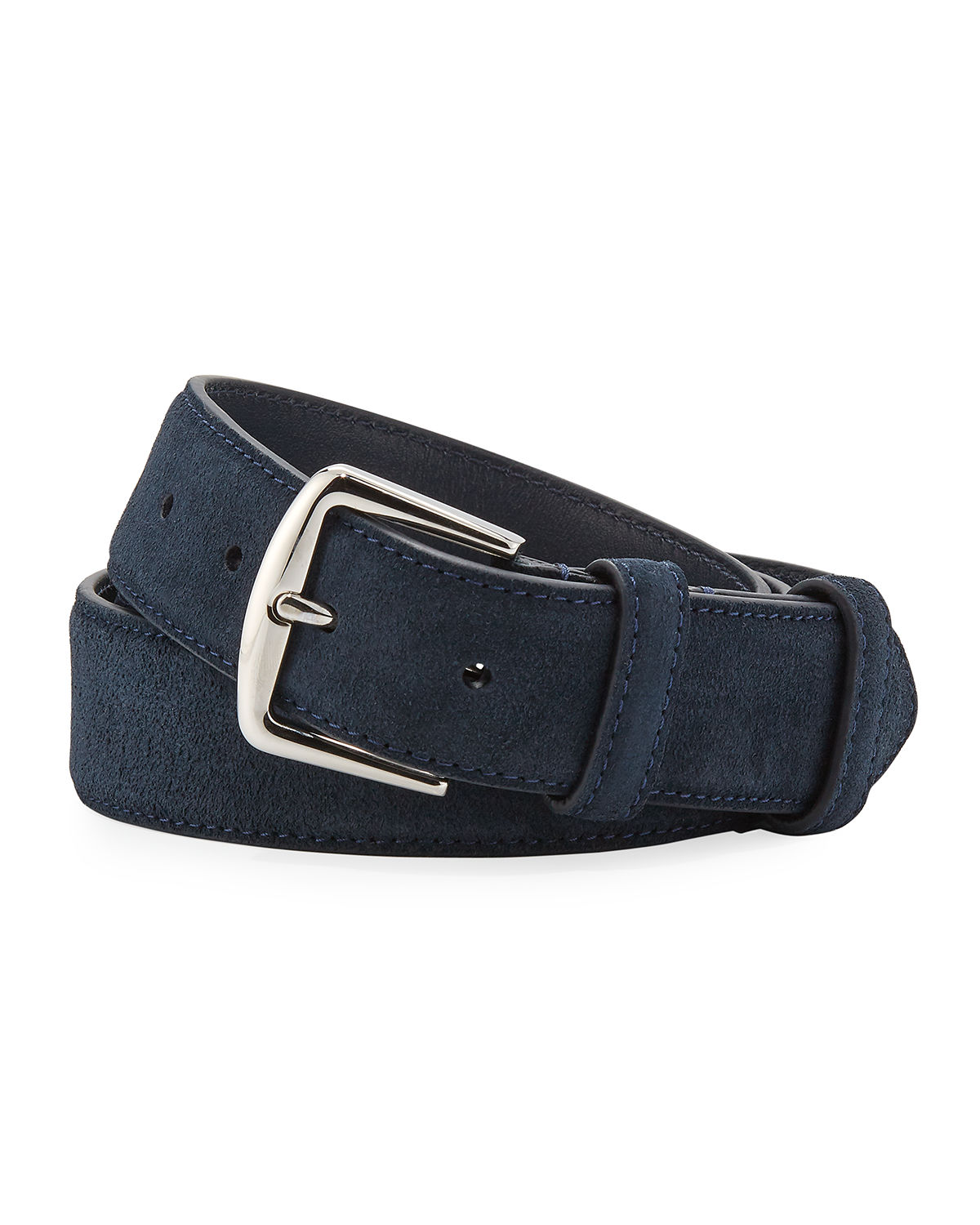 Loro Piana Men's Alsavel Suede Belt In Navy
