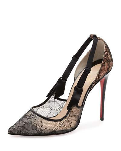 info for 9a32a bff5a Hot Jeanbi 100 Satin And Patent Leather-Trimmed Lace Pumps in Black,Dark  Grey