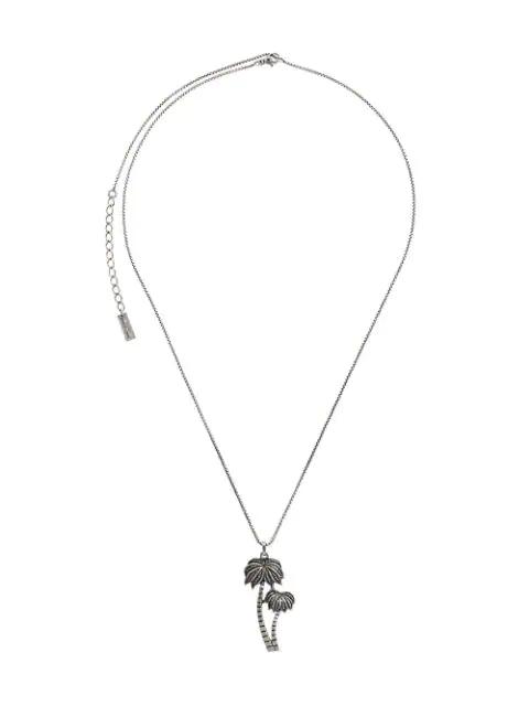 5f927b3928d Saint Laurent Silver-Toned Palm Tree Pendant Necklace | ModeSens