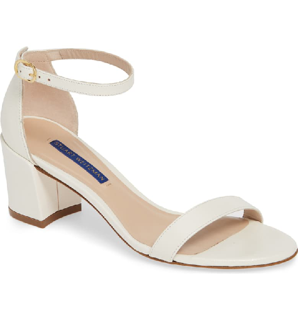 Stuart Weitzman Women's Simple Block Heel Sandals In Cream Caviar Patent