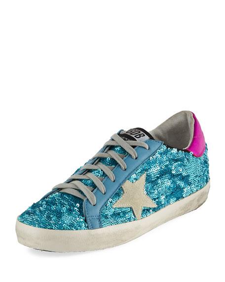 Golden Goose Sequined Superstar Low-Top Sneakers In Soft Blue