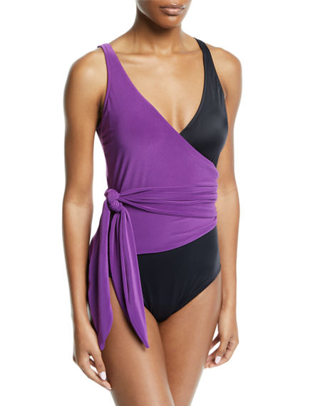 f49cf85ff1001 Magicsuit Slimming Colorblocked Wrap-Front One-Piece Swimsuit Women's  Swimsuit In Amethyst
