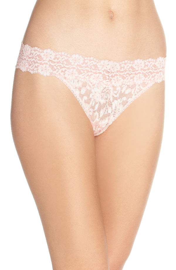 42e8ef3f7f6 Hanky Panky Cross-Dyed Signature Lace Original-Rise Thong In Rosita Pink   Marshmallow