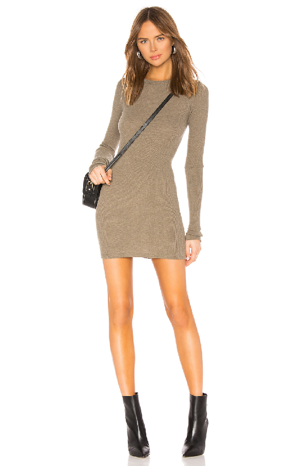 f75f170d9e16 Enza Costa Cashmere Thermal Long Sleeve Crew Mini Dress In Green. In ...