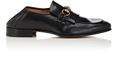 b3abc59eac9 Gucci Leather Fringe Horsebit Loafer In Black