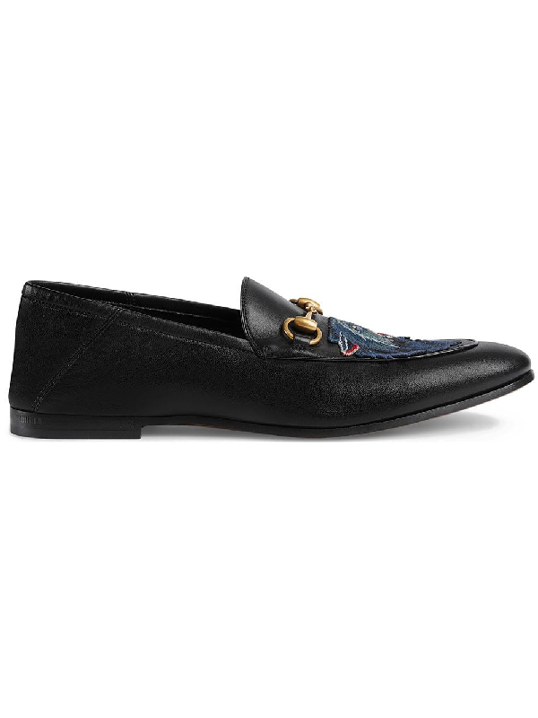 Gucci Embroidered Leather Jordaan Loafers In Black