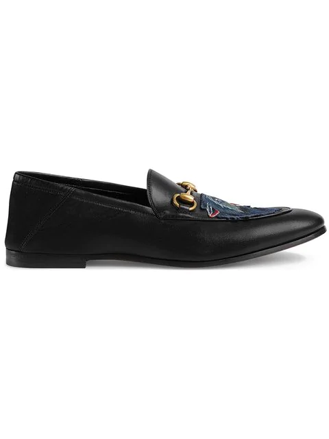 Gucci Embroidered Leather Jordaan Loafers In 1000 Black