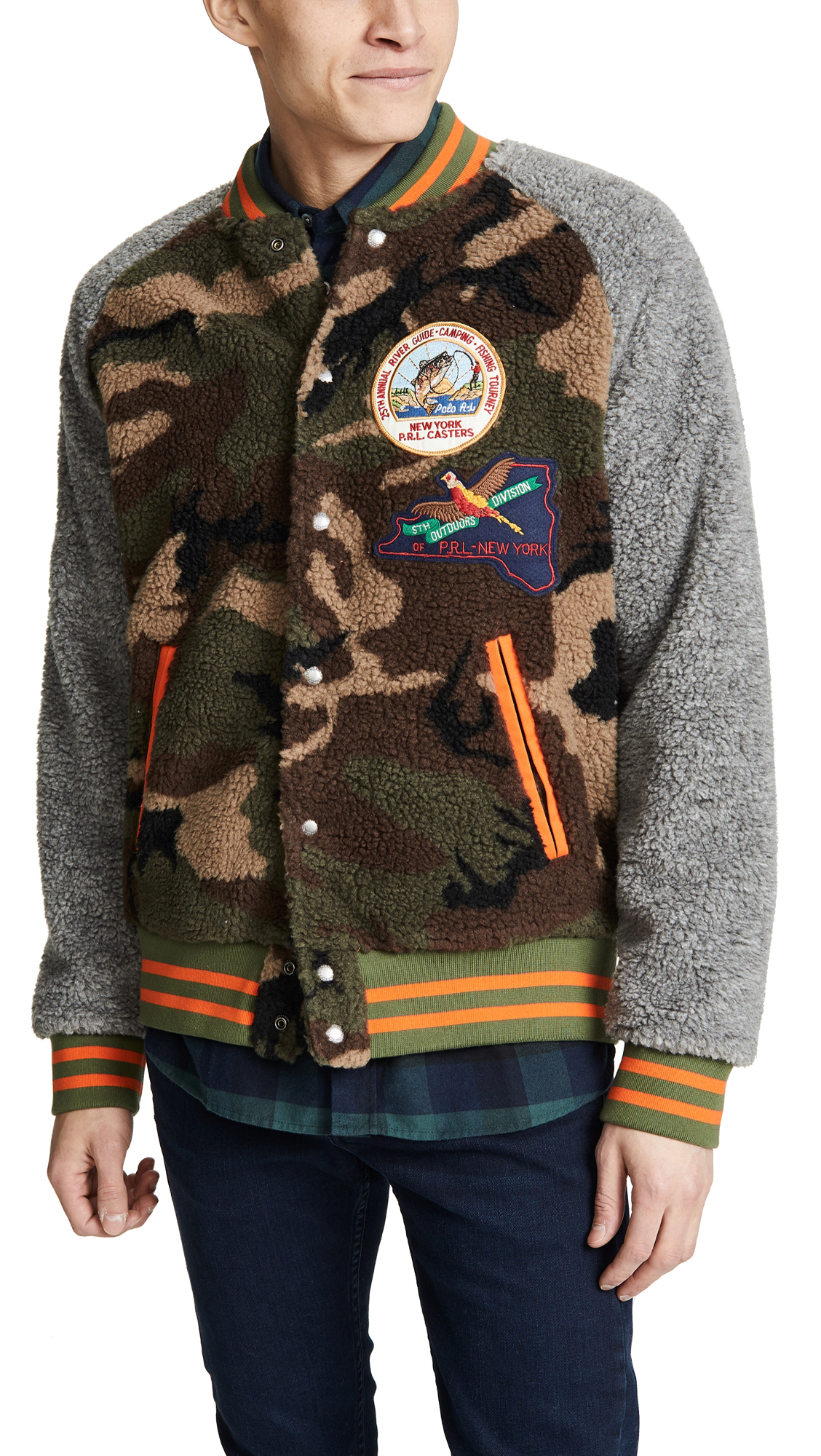 9eb13cce4 Polo Ralph Lauren Great Outdoors Sherpa Jacket In Camo Dark Vintage Heather