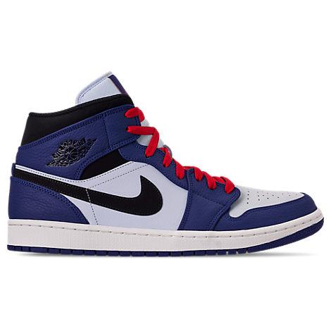 c024119c9f Men's Air Jordan Retro 1 Mid Premium Basketball Shoes, Blue