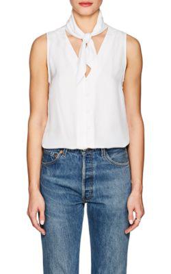 Frame Sleeveless Silk Scarf Blouse In White