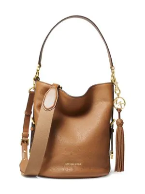 e3bb3af2039407 Michael Michael Kors Medium Brooke Pebbled Leather Bucket Bag In Acorn