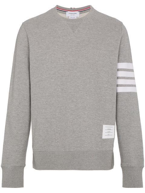 Thom Browne Slim-Fit Striped Loopback Cotton-Jersey Sweatshirt In Grey
