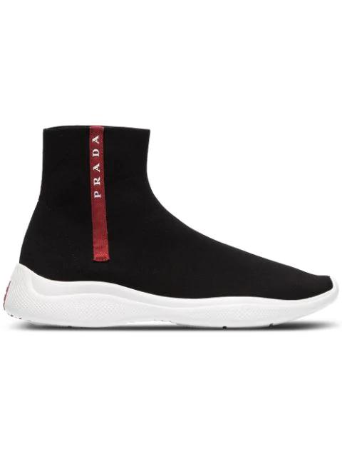 Prada America's Cup Stretch-knit High-top Sneakers In F0967 Black