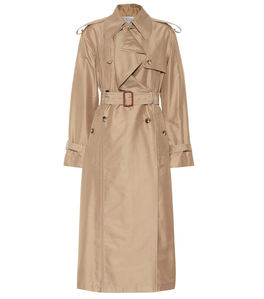 Valentino Cotton And Silk Trench Coat In Beige