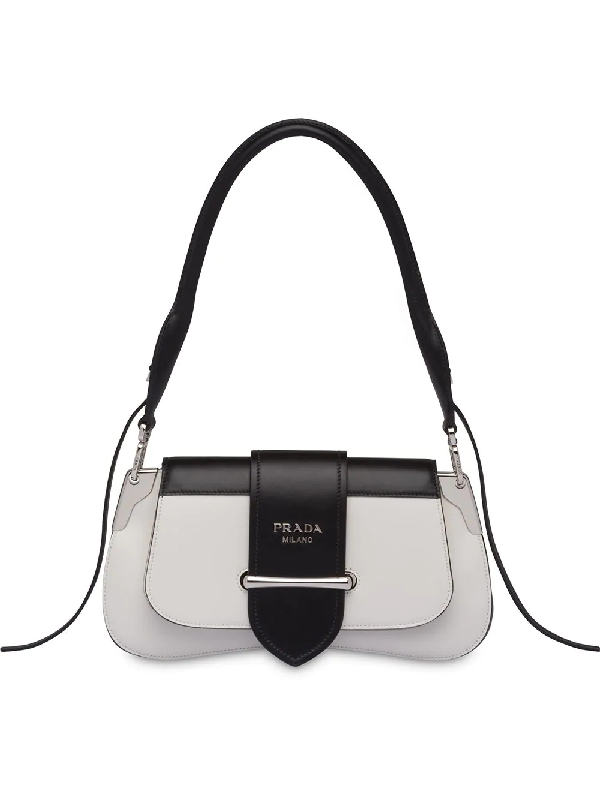 9bea7a29107a Prada Sidonie Two-Tone Leather Shoulder Bag In White