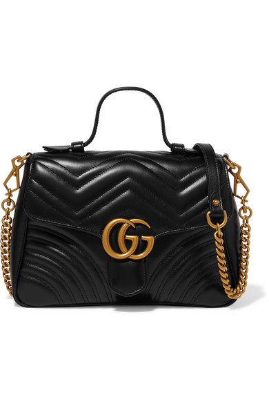 Gucci Gg Marmont Small Quilted Leather Shoulder Bag In Black