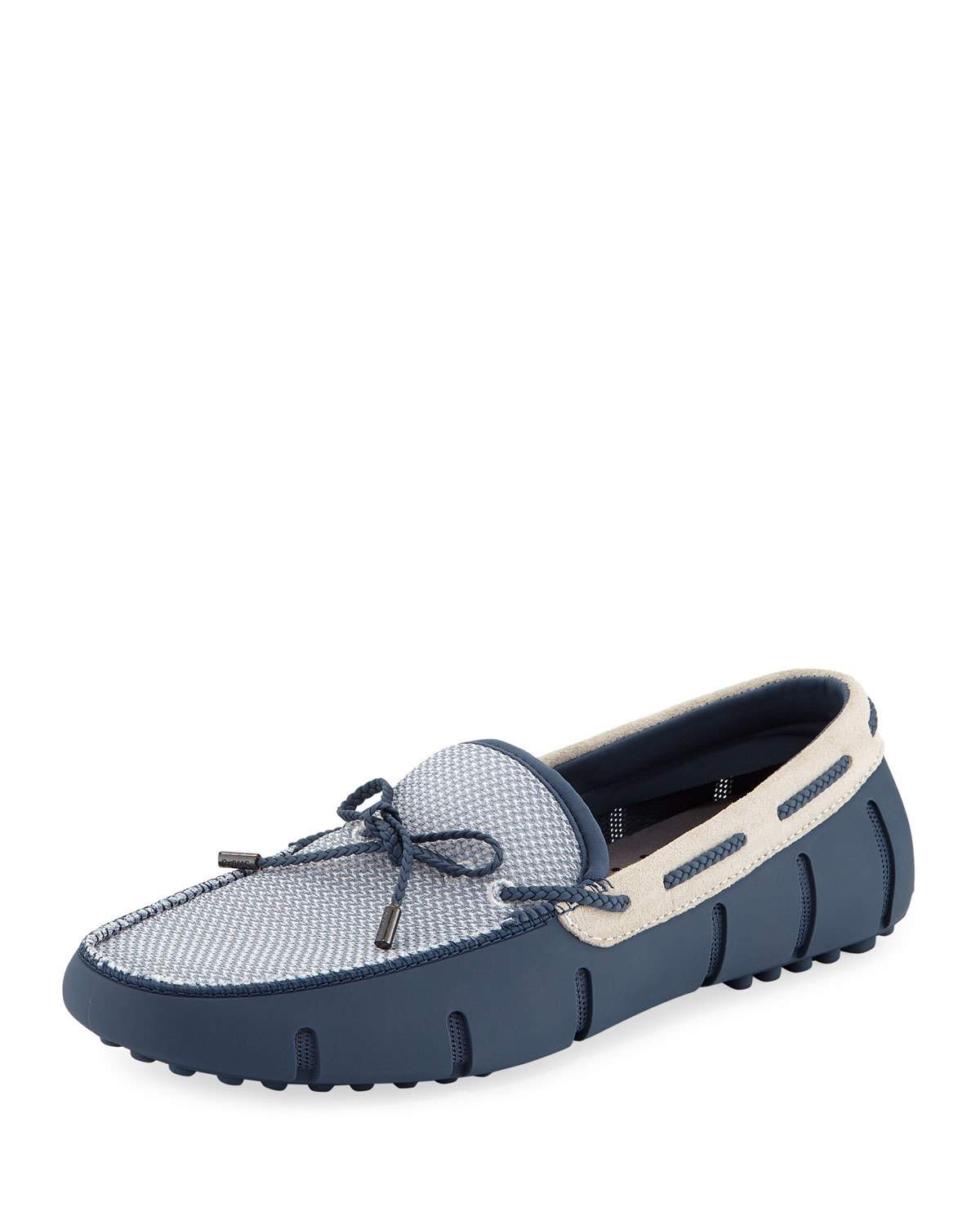 d6c2750611d0b Swims Mesh & Rubber Braided-Lace Boat Shoes In Blue | ModeSens