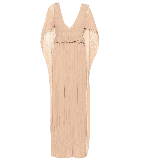 ChloÉ Deep V-Neck Plisse Cape-Back Gown In Beige