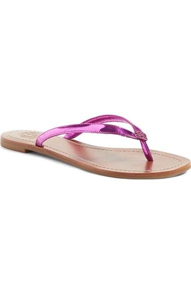 2573a26ff44 Tory Burch Terra Metallic Thong Sandal In Magenta