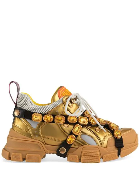 Gucci Flashtrek Crystal Embellished Low Top Trainers In Gold