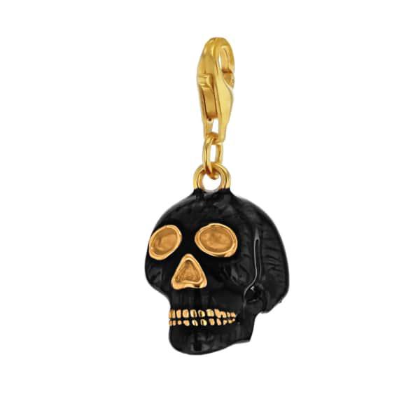 True Rocks Black Enamel & 18 Carat Gold Plated Skull Charm