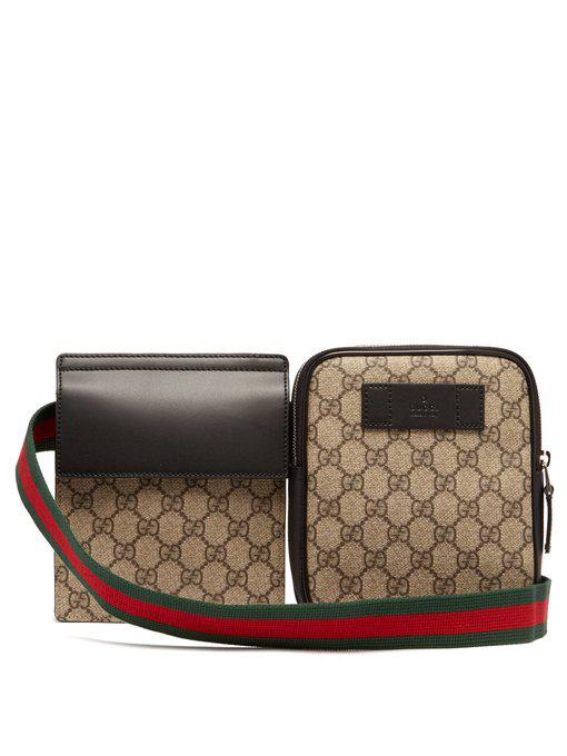 37a50d0ff7eaf7 Gucci - Gg Supreme Web Striped Belt Bag - Mens - Beige In Brown ...
