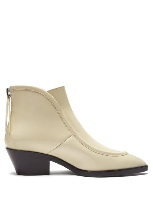 Jil Sander Pointed Toe Western Leather Ankle Boots In White