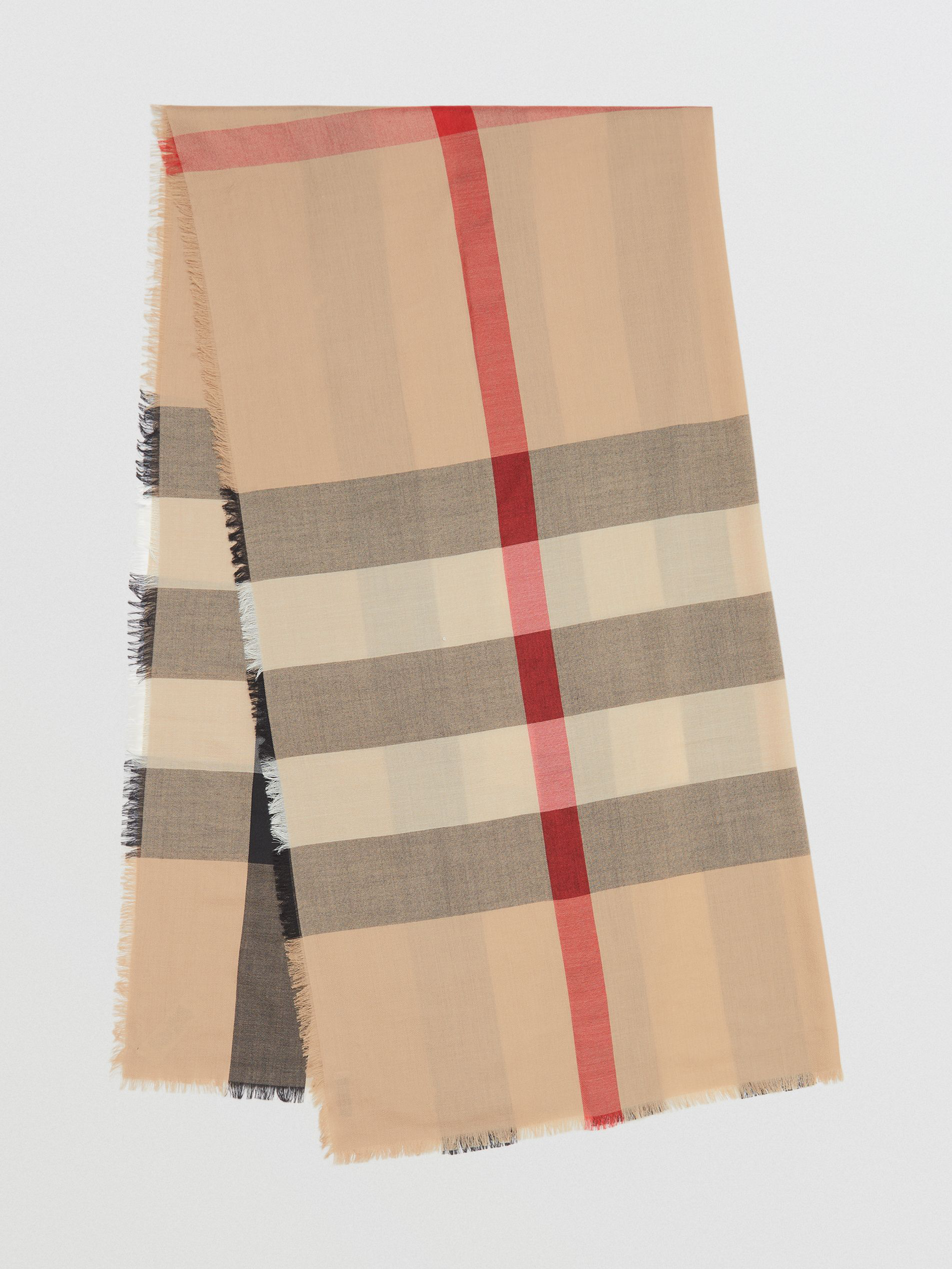 Burberry Lightweight Check Cashmere Scarf In Camel