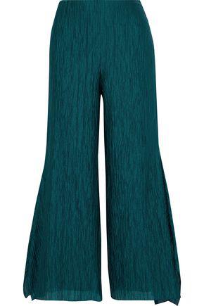 Roland Mouret Woman Buckden Cotton-Blend Cloqué Wide-Leg Pants Emerald