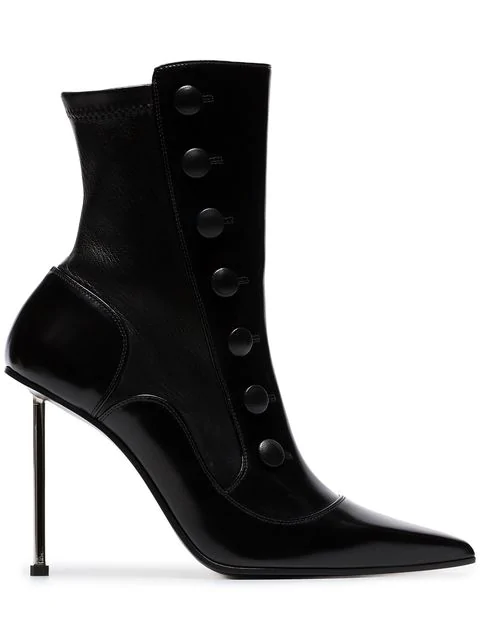 Alexander Mcqueen Black 105 Stiletto Heel Leather Ankle Boots