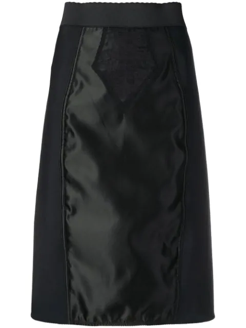 Dolce & Gabbana Satin And Lace Pencil Skirt In Black