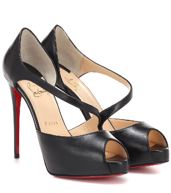 10eee48bb3e Catchy Two 120 Leather Peep Toe Pumps in Black