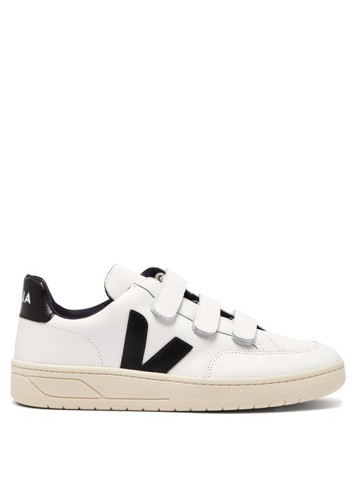 Veja V-12 Bastille Low-Top Leather Trainers In White