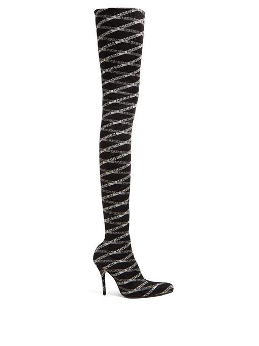 Balenciaga Over-The-Knee Logo-Jacquard Boots In Black