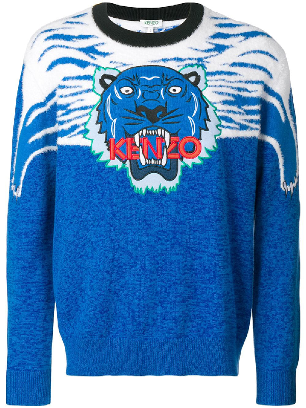 6490ada9f Kenzo Tiger Patch Intarsia Knit Sweater In Blue | ModeSens