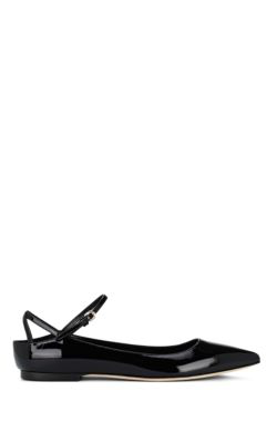 df9dc346720 Brian Atwood Astrid Patent Leather Ankle-Strap Flats In Black