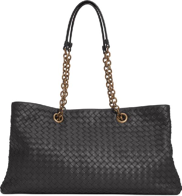Bottega Veneta Intrecciato East/West Leather Tote Bag - Black In Purple