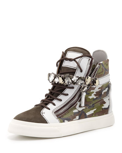 Giuseppe Zanotti 20Mm Embossed Leather High Top Sneakers In Gray/Green