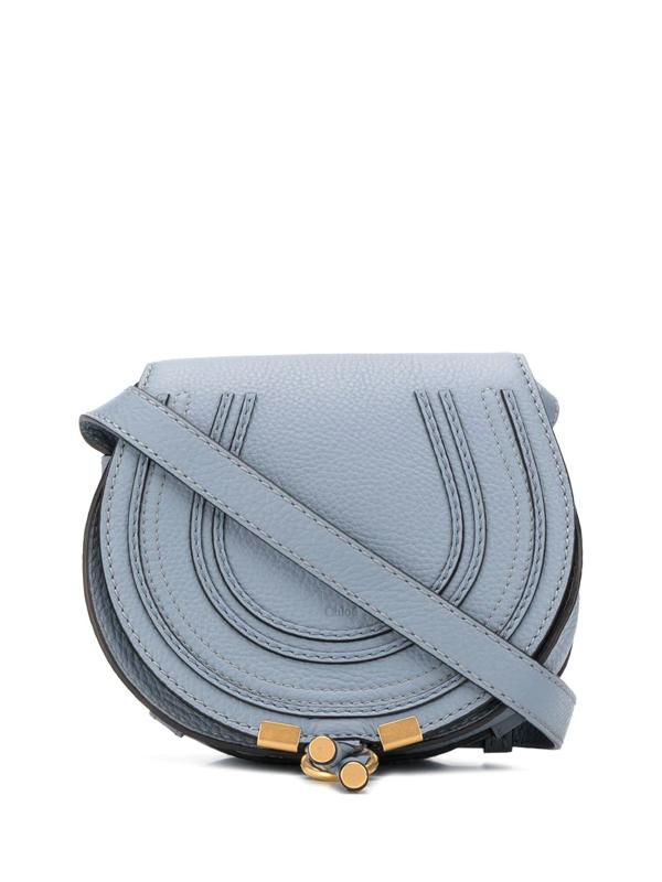 Chloé Marcie Mini Leather Shoulder Bag In Blue