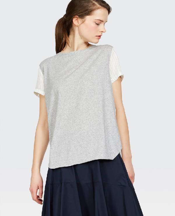 Aspesi Crewneck Short-Sleeve T-Shirt W/ Contrast Back & Sleeves In Light Grey