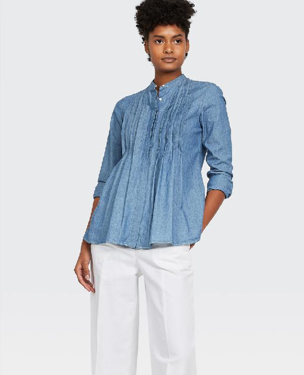 Aspesi Crewneck Long-Sleeve Pintuck Chambray Shirt In Medium Denim
