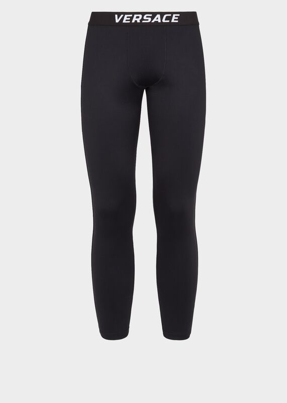 Versace Logo Gym Leggings In Black