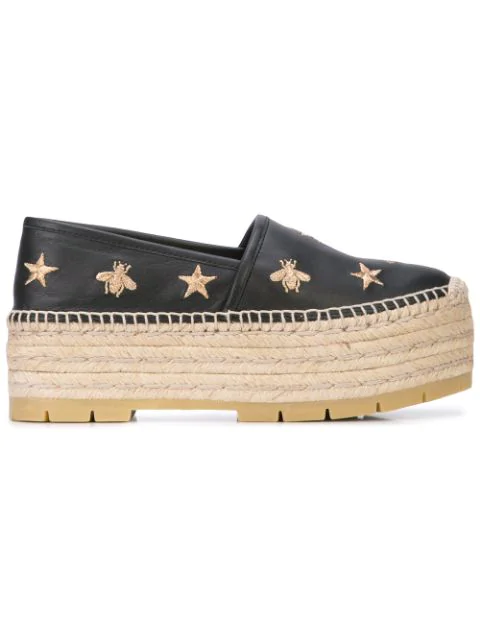 Gucci Bee And Star Embroidered Espadrilles In Black