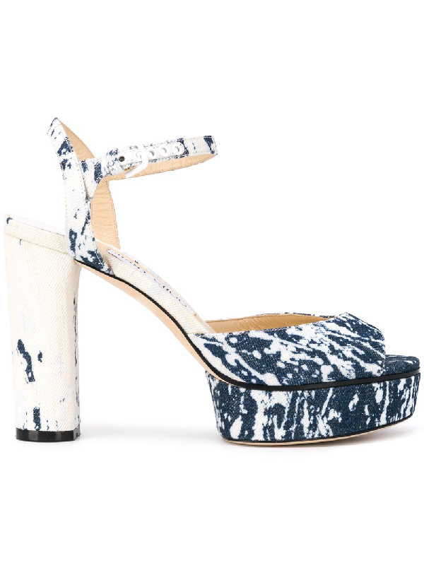 Jimmy Choo Peachy 105 Bleached Denim Platform Sandals In Blue
